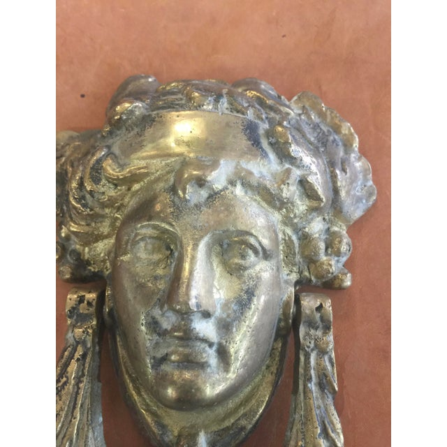 """Heavy Brass Door Knocer with Classic Head. The knocker is 7.5"""" long x 6"""" wide x 3"""" deep. Solid Brass, excellent condition...."""