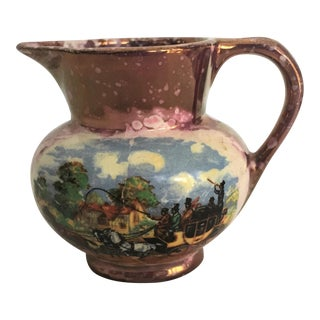 1950s English Traditional Dickens Days Pottery Pitcher For Sale