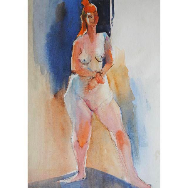 Expressionism Figurative Watercolor Painting For Sale - Image 3 of 3