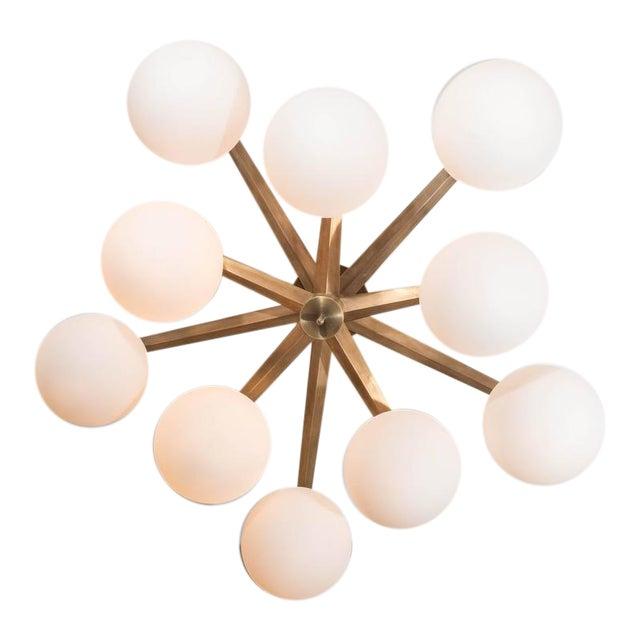 Custom Antique Brass Ten-Globe Ceiling Light For Sale