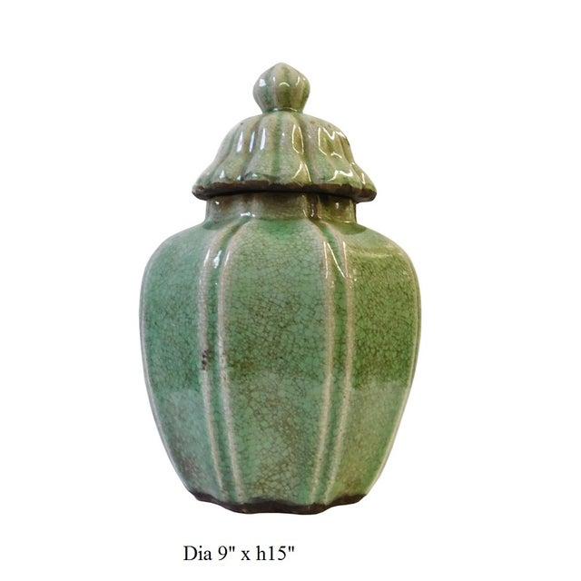 Ceramic Crackle Pattern Pumpkin Celadon Green Jar For Sale In San Francisco - Image 6 of 6