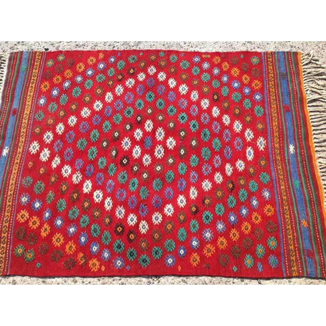 Boho Chic Vintage 1970s Turkish Kilim Rug - 2′11″ × 3′11″ For Sale - Image 3 of 6