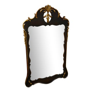 Antique Carved Mahogany Wall Mirror with Gold Highlights For Sale