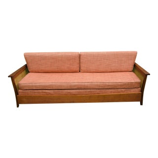 1960's Vintage Mid-Century Modern Walnut and Cane Daybed For Sale