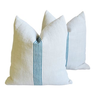 "Aqua Striped French Homespun Grain Sack Textile Feather/Down Pillows 21"" Square - Pair For Sale"
