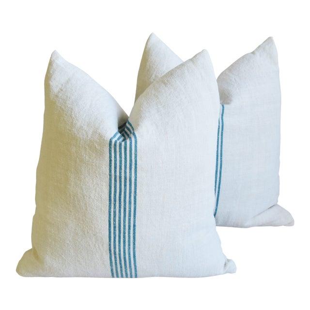 "Aqua Striped French Homespun Grain Sack Textile Feather/Down Pillows 21"" Square - Pair For Sale"