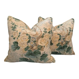 Traditional Lee Jofa Althea Citron Pillows - a Pair For Sale