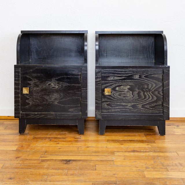 Mid Century Nightstands | Black and Brass | Huntley Furniture For Sale - Image 13 of 13
