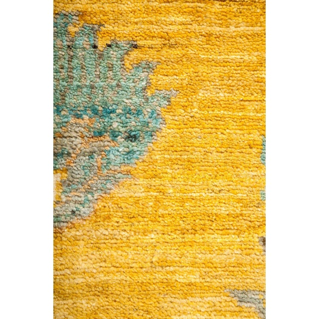 "Abstract Eclectic, Hand Knotted Yellow Abstract Wool Area Rug - 6' 2"" X 8' 10"" For Sale - Image 3 of 3"