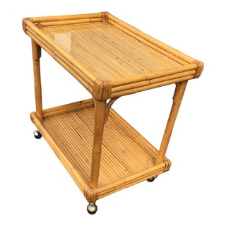 Mid-Century Modern Bamboo Wrapped Bar Cart