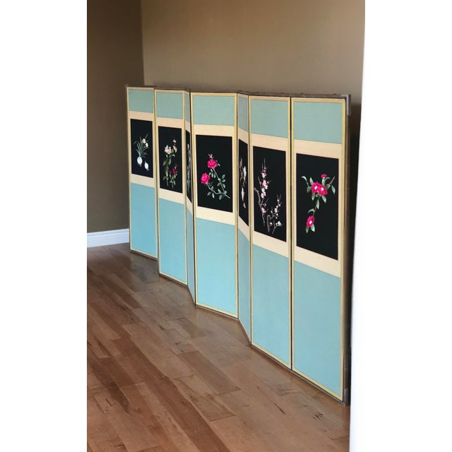 For your consideration is a stunning Mid-Century Korean eight-panel screen. This superb piece features a light blue silk...