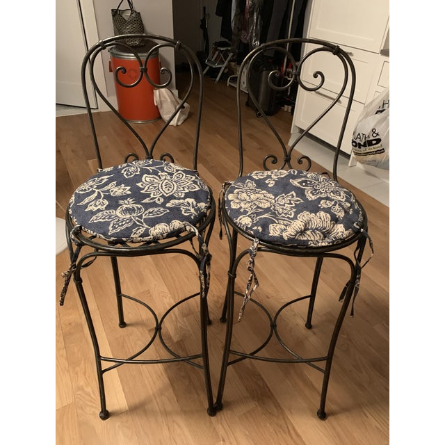 Wrought Iron Barstools - A Pair For Sale - Image 9 of 9
