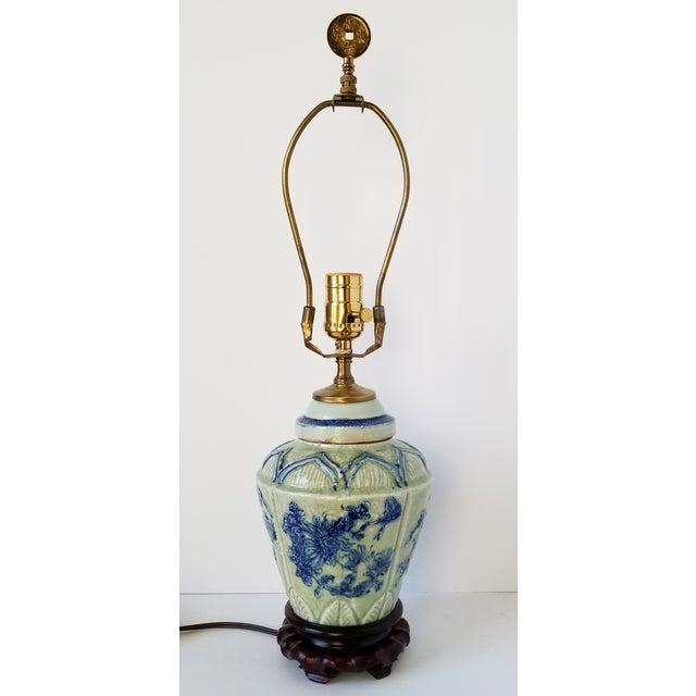 Antique Chinese Celadon Ginger Jar Lamp For Sale - Image 4 of 9
