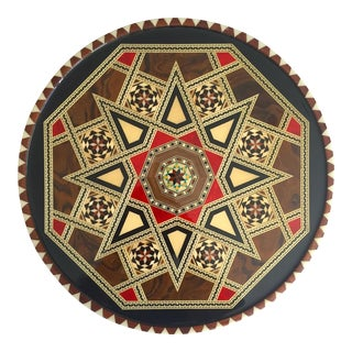 Vintage Granada Spain Handcrafted Inlaid Wood Marquetry Moorish Star Decorative Round Serving Tray For Sale