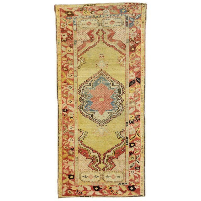 Yellow 20th Century Turkish Oushak Accent Rug For Sale - Image 8 of 8