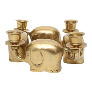 Vintage Brass Elephant Chain Candle Holders - Set of 4 For Sale