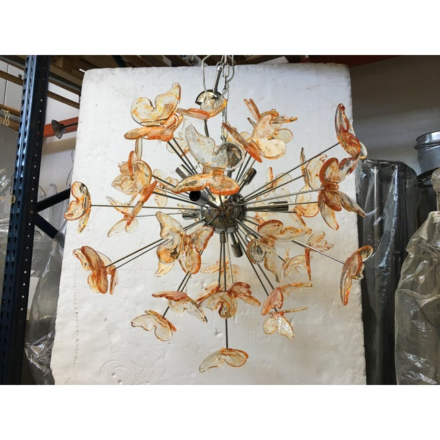 Mid-Century Modern Murano Glass Butterfly Sputnik Chandelier For Sale - Image 3 of 12