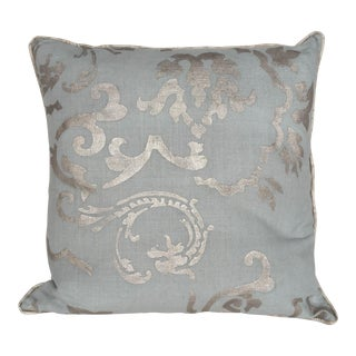 """Brocade"" Silver Hand Printed 20"" Decorative Pillow"