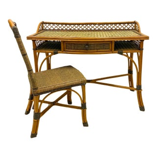 Vintage French Rattan and Wicker Desk & Chair by Grange For Sale