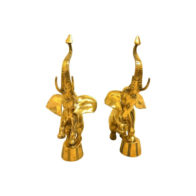 Oversize Rearing Brass Elephants - A Pair For Sale In Raleigh - Image 6 of 6