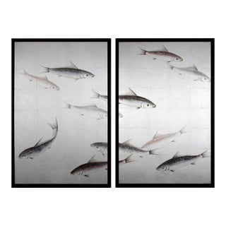Framed Koi Fish on Silver Leaf Painting Diptych/Pair For Sale