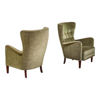 Pair of Green Velour Danish High Back Easy Chairs, 1940s For Sale