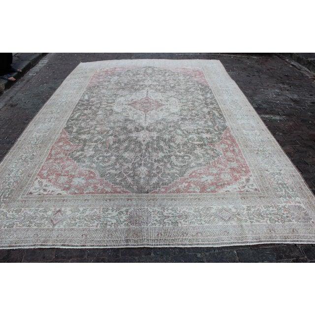 Celadon Vintage Sivas Turkish Wool Rug - 8 X 13 For Sale - Image 8 of 8