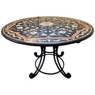 Pietra Dura Stone Inlaid Round Center Dining Table, Wrought Iron Base Antique For Sale