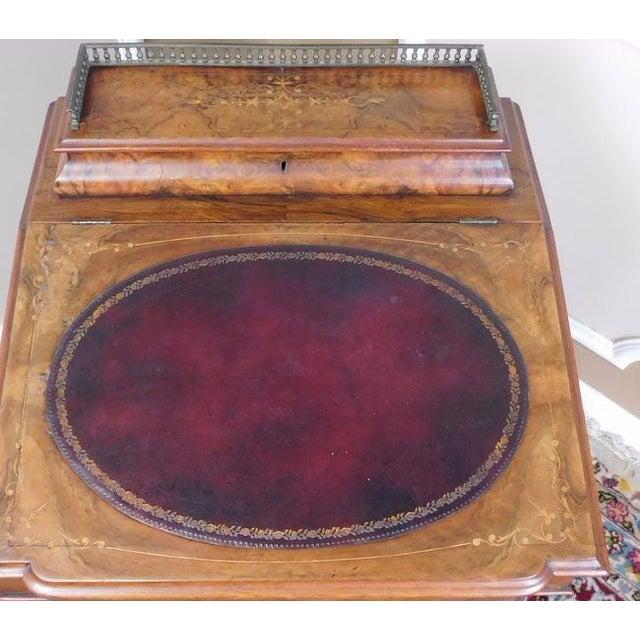 Victorian English Burl Walnut Davenport Desk - Image 6 of 9
