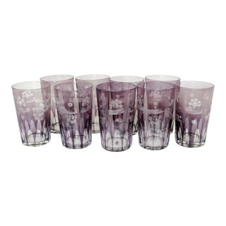 20th Century Traditional Violet Etched Crystal Four Ounce Glasses - Set of 9