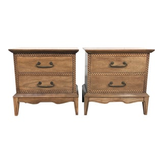 Hollywood Regency Carved Walnut Nightstands-a Pair For Sale