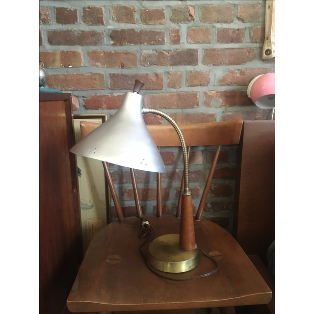 Vintage Metal & Wood Industrial Desk Lamp - Image 2 of 4