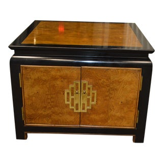 Century Furniture Chin Hua Maple Burl & Black Lacquer Commode For Sale