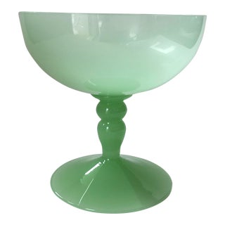Antique Green Opaline Glass Goblet Sherbert Cup For Sale