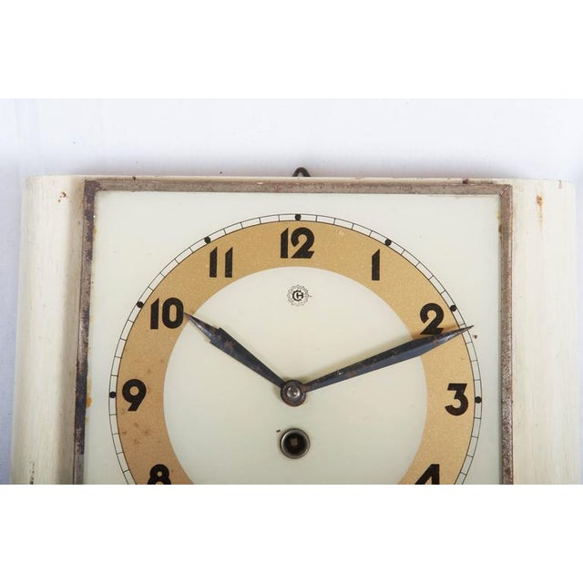 Art Deco Czech Art Deco Wall Clock from Chomutov, 1930s For Sale - Image 3 of 6