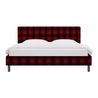 King Tailored Platform Bed in Red Tartan For Sale