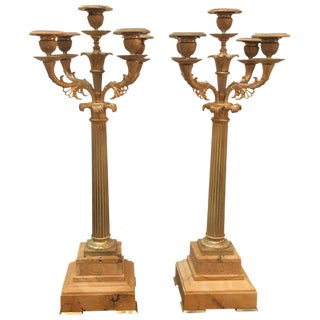 19th Century French Gilt Bronze and Sienna Candelabra - a Pair For Sale
