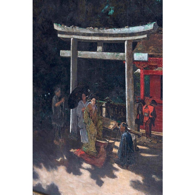 "Late 19th Century Late 19th Century Francis Neydhart Oil on Canvas ""A Courtyard Ceremony, Nikko"" For Sale - Image 5 of 13"