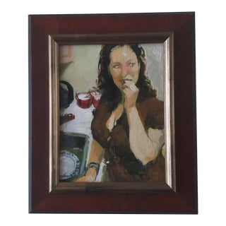 """""""The Taste (Self Portrait)"""" Contemporary Oil Painting by Jane Radstom, Framed For Sale"""