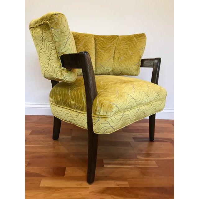 Beautifully restored channel back Billy Haines era channel back chair reupholstered in Jane Churchill velvet. Frame was...