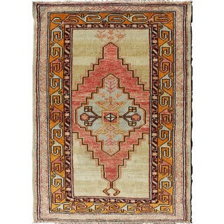 1920s Vintage Turkish Oushak Rug - 2′7″ × 3′9″ For Sale