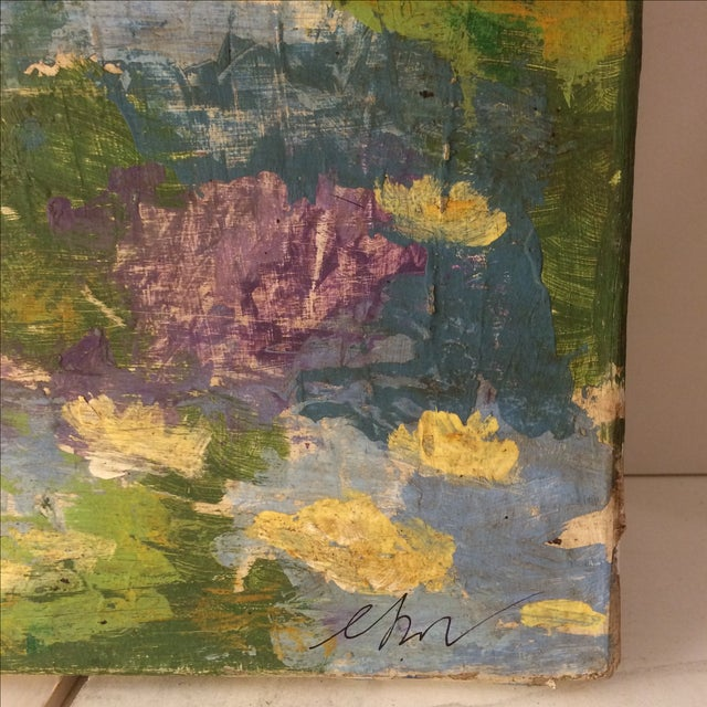 Impressionist Lily Pad Painting - Image 7 of 8