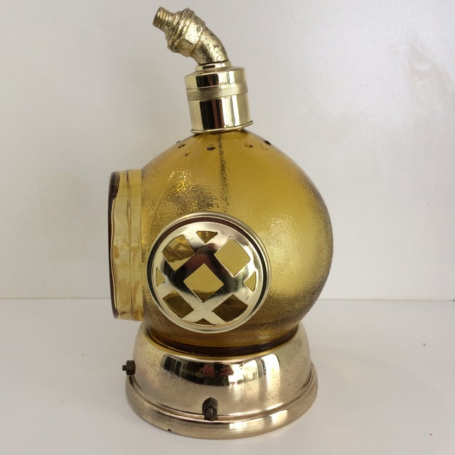 "Unusual vintage diving helmet decanter with wind up working Music Box that plays ""How Dry I Am""."