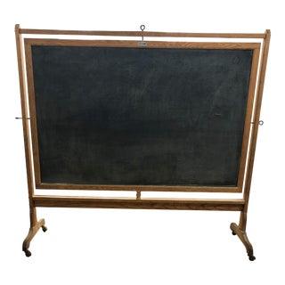 Industrial Antique Hammett's Very Large Schoolhouse Double-Sided Standing Rolling Blackboard or Chalkboard For Sale