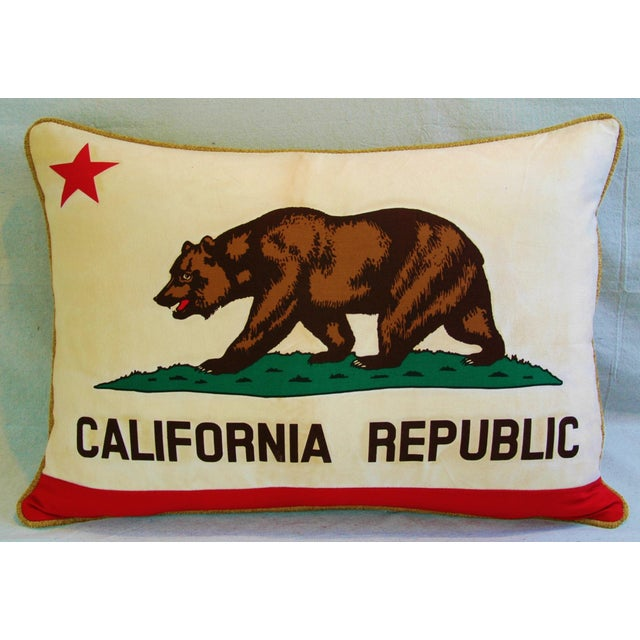 Large custom-tailored California Republic State grizzly bear flag pillow. Pillow was created from a vintage California...