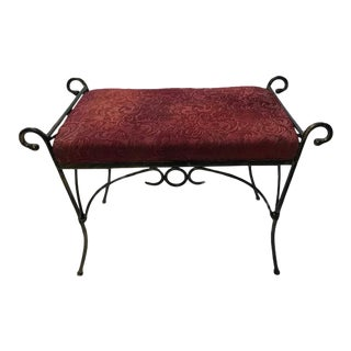 Vintage Mid Century Wrought Iron Hollywood Regency Curule Vanity Bench For Sale