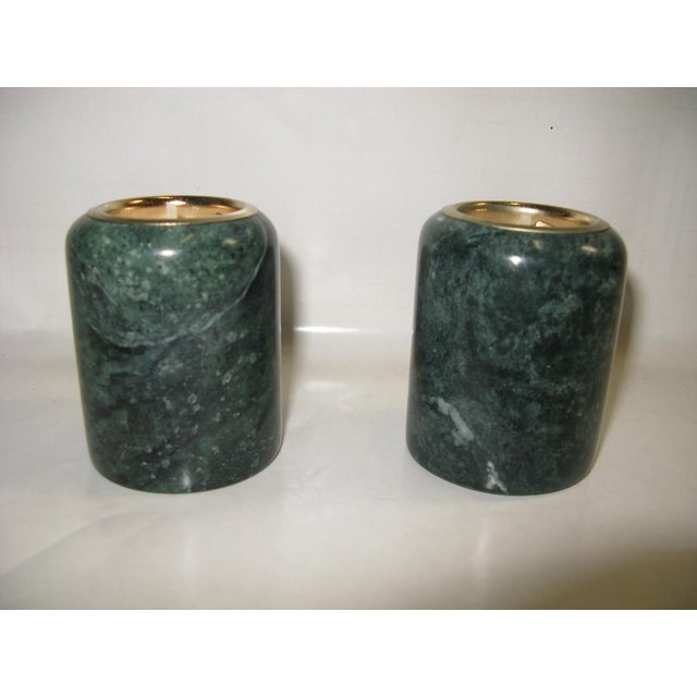 1980s Green Marble Candle Holders - a Pair For Sale - Image 10 of 10