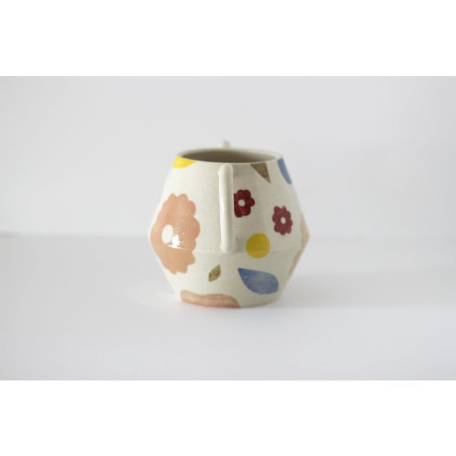 Modern Modern Hand-Painted Decorative Floral Vase For Sale - Image 3 of 12