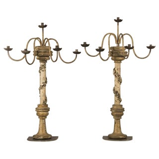 19th Century Italian Painted Wood Five Arm Candelabra - a Pair For Sale