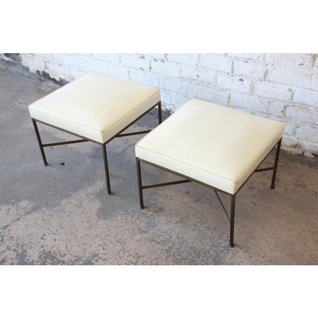 1950s Paul McCobb for Directional X-Base Brass and Upholstered Stools or Benches, Pair For Sale - Image 5 of 11